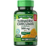 Natures Truth Vitamins Capsules Turmeric Curcumin Black Pepper Complex 500 Mg Bottle - 120 Count
