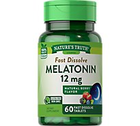 Natures Truth Vitamins Tablets Fast Dissolve Melatonin Berry Flavor 12 Mg Bottle - 60 Count