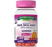 Natures Truth Vitamins Gummies Gorgeous Hair Skin & Nails 2500 Mcg Bottle - 80 Count