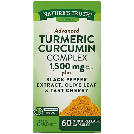 Natures Truth Vitamins Capsules Turmeric Curcumin Black Pepper Advanced 1500 Mg Bottle - 60 Count