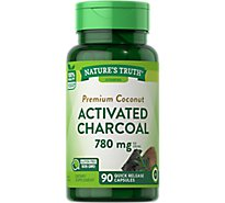 Natures Truth Vitamins Capsules Charcoal Activated Traditional Absorbent 520 Mg Bottle - 90 Count