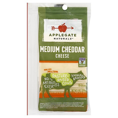 Applegate Naturals Cheese Cheddar Medium Cheese Slices - 6 Oz