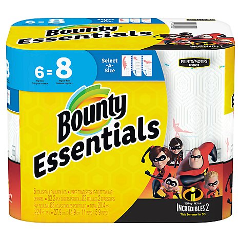 Bounty Essentials Paper Towels Select-A-Size Big Rolls 2-Ply Prints Incredibles Wrapper - 6 Roll