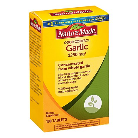 Nature Made Dietary Supplement Tablets Garlic Odor Control 1250 Mg Box - 100 Count