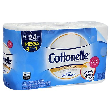 Cottonelle CleanCare Bathroom Tissue Mega Rolls 1-Ply Wrapper - 6 Roll