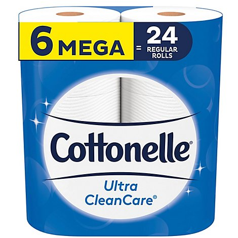 Cottonelle Ultra CleanCare Bathroom Tissue Mega Roll 1 Ply - 6 Roll
