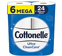 Cottonelle CleanCare Bathroom Tissue Mega Roll 340 1-Ply Sheets Wrapper - 6 Roll