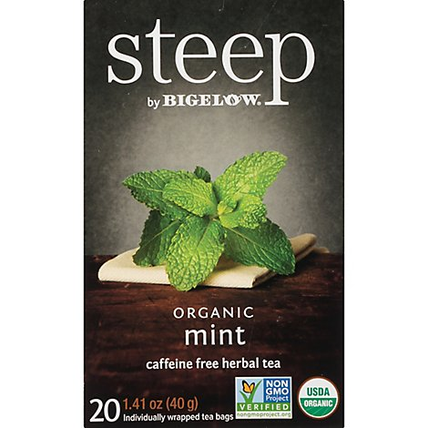 Steep Organic Herbal Tea Mint Caffeine Free Box - 20-1.41 Oz