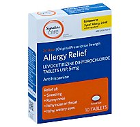 Signature Care Allergy Relief Levocetirizine Dihydrochloride USP 5mg 24 Hour Tablet - 10 Count