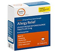 Signature Care Allergy Relief Levocetirizine Dihydrochloride USP 5mg 24 Hour Tablet - 35 Count