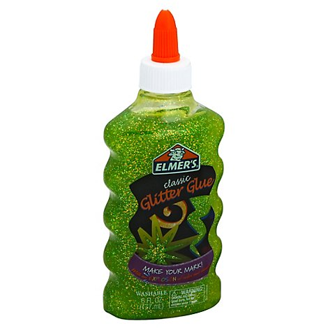 Elmers Glitter Glue Classic Washable Green Bottle - 6 Fl. Oz.
