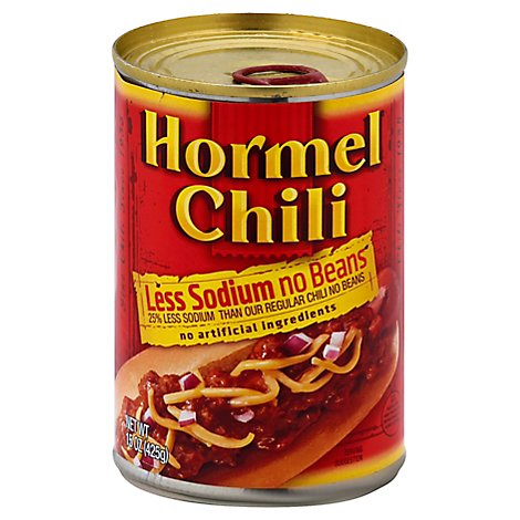 Hormel Chili No Beans Less Sodium Can - 15 Oz
