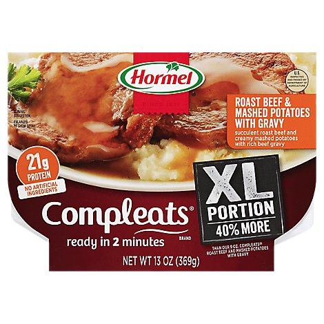 Hormel Compleats Microwave Meals XL Roast Beef & Mashed Potatoes Bowl - 13 Oz