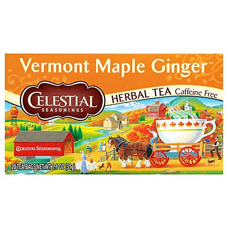 Celestial Seasonings Herbal Tea Vermont Maple Ginger Caffein Free Tea Bags Box - 20 Count
