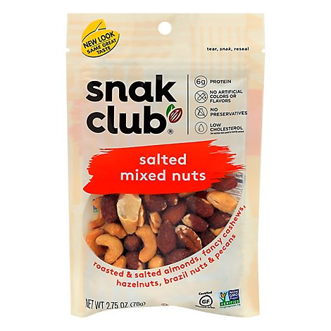 Snack Club Snax Better Mixed Nuts Salted Low Sodium Pouch - 2.75 Oz