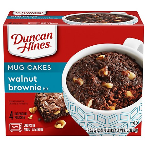 Duncan Hines Perfect Size For 1 Brownie Mix Walnut Chocolate Decadent Box - 4-2.2 Oz