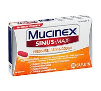 Mucinex Sinus-Max Medicine For Pressure Pain & Cough Maximum Strength Caplets - 20 Count