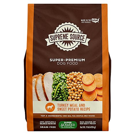 Supreme Source Dog Food Grain Free Turkey Meal And Sweet Potato Bag - 11 Lb