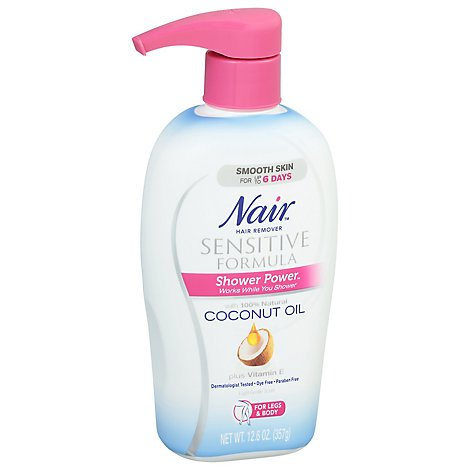 Nair Hair Remover Shower Power Sensitive Formula Coconut Oil Bottle - 12.6 Oz