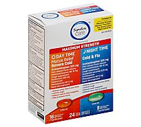 Signature Care Mucus Relief Daytime & Nighttime Pack Softgel - 24 Count