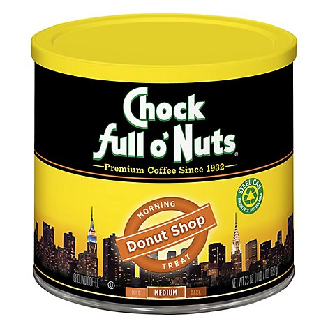 Chock full o Nuts Coffee Ground Medium Roast Morning Treat Donut Shop Tub - 23 Oz