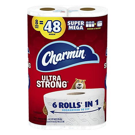 Charmin Ultra Strong Bathroom Tissue Super Mega Roll 2-Ply Bag - 8 Count