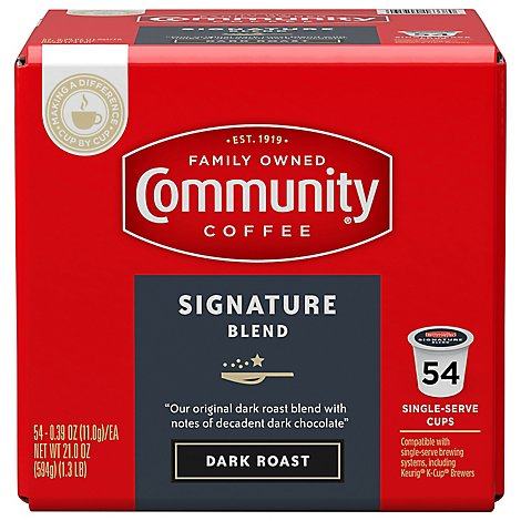 Community Coffee Coffee K-Cup Pods Dark Roast Signature Blend Box - 54 Count