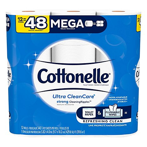 Cottonelle Ultra CleanCare Bathroom Tissue Mega Roll 1 Ply - 12 Roll