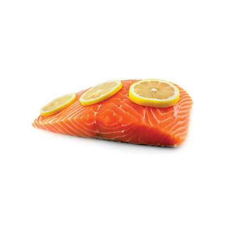 Seafood Counter Fish Salmon Sockeye Portion Skin On Frozen 5 Ounces Service Case
