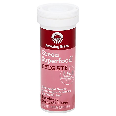 Amazing Grass Green Superfood Dietary Supplement Tablets Strawberry Lemonade Tube - 10 Count