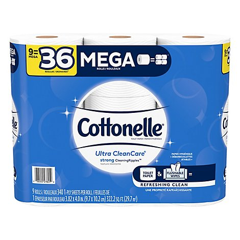 Cottonelle Ultra CleanCare Toilet Paper Double Roll 1 Ply Sheets - 9 Roll