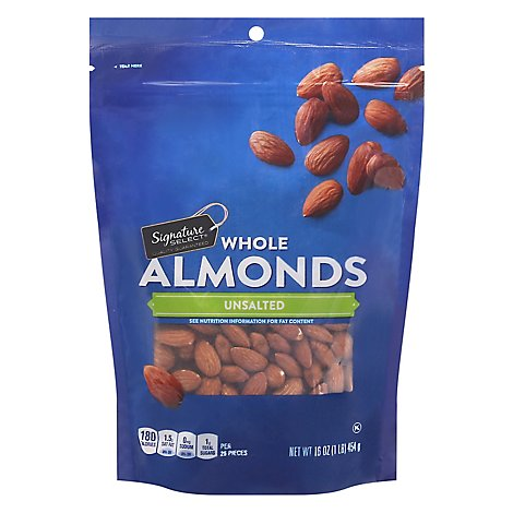 Signature SELECT Almonds Whole Unsalted Pouch - 16 Oz