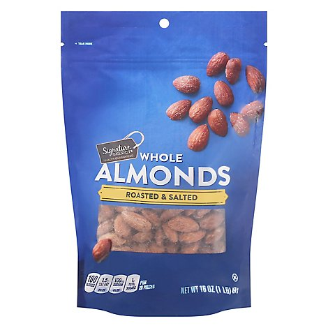 Signature SELECT Almonds Whole Roasted & Salted Pouch - 16 Oz