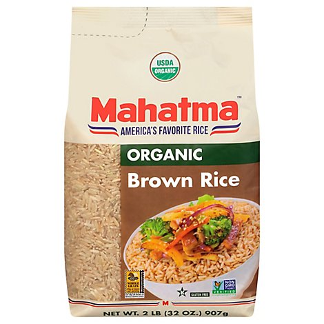 Mahatma Organic Rice Brown Bag - 2 Lb