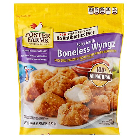 Foster Farms Chicken Wings Boneless Wings Spicy Garlic Fully Cooked No Antibiotics Ever - 22 Oz