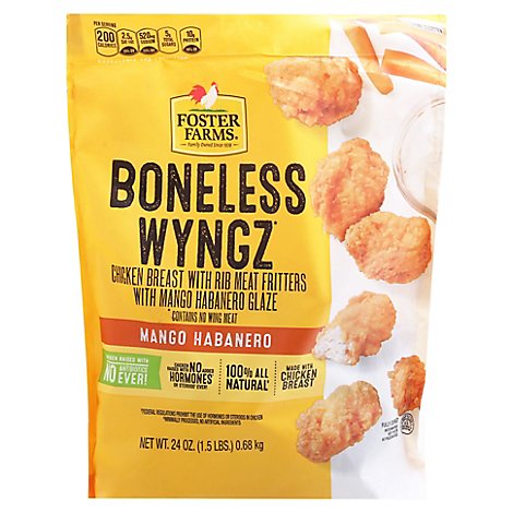 Foster Farms Fully Cooked Nae All Natural Mango Habanero Bnls Chicken Wyngz - 24 Oz