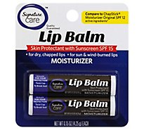 Signature Care Lip Balm Moisturizer Skin Protectant With Suncreen SPF 15 - 2-0.15 Oz
