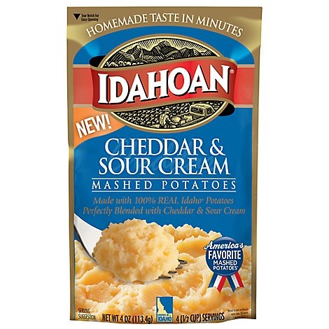 Idahoan Potatoes Mashed Cheddar & Sour Cream Pouch - 4 Oz
