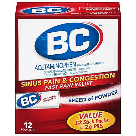 BC Fast Cold & Flu Relief Sinus Congestion & Pain Stick Packs - 12 Count