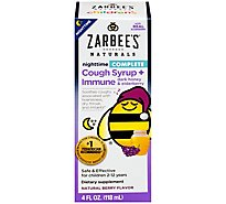 Zarbees Naturals Childrens Cough Syrup + Immune Complete Nighttime - 4 Fl. Oz.
