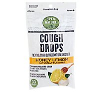 Open Nature Cough Drops Cough Suppresant Oral Anesthetic Menthol Honey Lemon - 30 Count