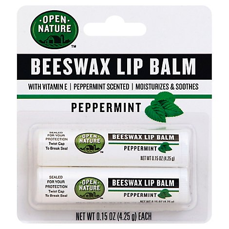 Open Nature Lip Balm Beeswax Peppermint With Vitamin E - 2-0.15 Oz