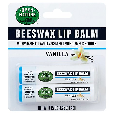 Open Nature Lip Balm Beeswax Vanilla With Vitamin E - 2-0.15 Oz