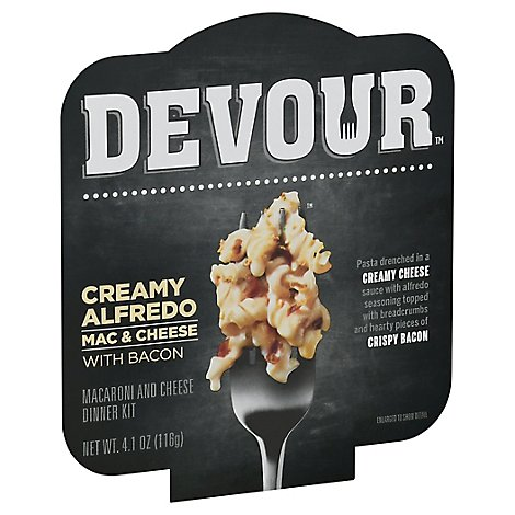 Devour Single Serve Meals Alfredo Mac & Cheese With Bacon - 4.1 Oz