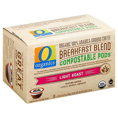 O Organics Coffee Pod Breakfast Blend Compostable - 10 Count