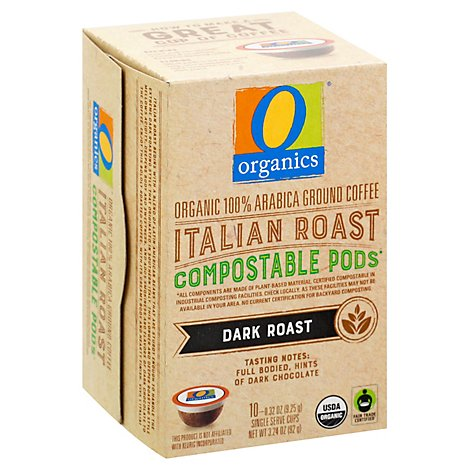 O Organics Coffee Pod Italian Roast Compostable - 10 Count