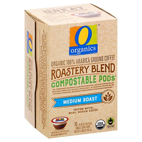 O Organics Coffee Pod Roastery Blend Compostable - 10 Count