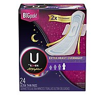 U by Kotex AllNighter Pads Ultra Thin Overnight with Wings Extra Heavy - 24 Count