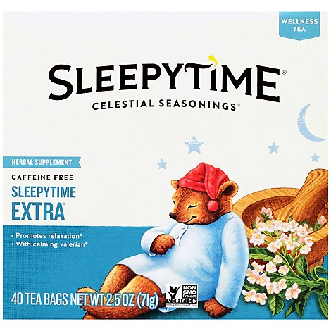 Celestial Seasonings Sleepytime Herbal Tea Extra Caffeine Free Tea Bags Box - 40 Count