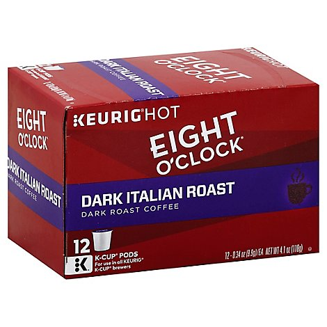 Eight OClock Coffee K Cup Pods Dark Roast Dark Italian Roast 12 Count - 4.1 Oz